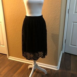 Black skirt with black lace layover